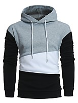 cheap -Men's Sports Simple Color Block Hooded Hoodie Regular,Long Sleeve Spring Fall Cotton