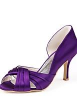 preiswerte -Damen Schuhe Seide Frühling Sommer Pumps Hochzeit Schuhe Stöckelabsatz Peep Toe Drapiert für Hochzeit Party & Festivität Violett