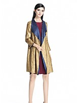 cheap -8CFAMILY Women's Daily Holiday Boho Chinoiserie Spring Summer Coat,Color Block Notch Lapel ½ Length Sleeve Regular Polyester Pleated