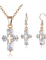 cheap -Women's Drop Earrings Pendant Necklace Cubic Zirconia Simple Fashion Daily Zircon Copper Cross 1 Necklace Earrings