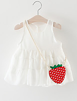 cheap -Baby Girl's Going out Solid Dress, Cotton Simple Sleeveless White Blushing Pink