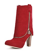 cheap -Women's Shoes Leatherette Winter Fall Fashion Boots Boots Chunky Heel Round Toe Mid-Calf Boots Buckle for Casual Dress Red Brown Gray