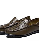 Недорогие -Муж. обувь Кожа Весна Осень Светодиодные подошвы Мокасины и Свитер для Повседневные Хаки