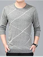 cheap -Men's Daily Casual Regular Pullover,Print Round Neck Long Sleeves Japanese Cotton Winter Fall Thick Micro-elastic