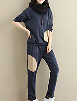 cheap -Women's Going out Simple Winter Set Pant Suits,Solid Round Neck Long Sleeves Polyester