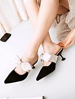 Недорогие -Для женщин Обувь Нубук Весна Лето Удобная обувь Тапочки и Шлепанцы На шпильке Заостренный носок Бант для Повседневные Черный Розовый