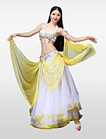 cheap -Belly Dance Outfits Women's Performance Cotton Polyester Beading Petal Crystals/Rhinestones Paillette Sleeveless Dropped Skirts Bra 1 Belt
