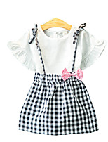 Недорогие -Девочки Набор одежды Повседневные Хлопок С принтом Лето Короткие рукава На каждый день Белый