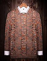 Недорогие -Для мужчин Повседневные На каждый день Обычный Пуловер С принтом,Круглый вырез Длинный рукав Полиэстер Все сезоны Толстая Эластичность