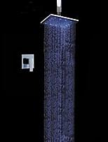 Недорогие -Современный На стену Дождевая лейка Ручная лейка входит в комплект LED Керамический клапан Хром , Смеситель для душа