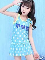 cheap -Girls' Polka Dot Swimwear, Polyester Blue