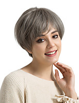 cheap -Synthetic Wig Straight Pixie Cut With Bangs Density Capless Women's Gray Natural Wigs Synthetic Hair