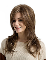 cheap -Synthetic Hair Wigs Natural Wave Side Part Highlighted/Balayage Hair With Bangs Natural Wigs Long Medium Brown/Strawberry Blonde