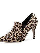 cheap -Women's Shoes Flocking Winter Fall Fashion Boots Boots Stiletto Heel Pointed Toe Animal Print for Dress Party & Evening Brown Almond