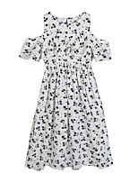 cheap -Girl's Floral Dress Summer Short Sleeves Cute White