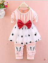 cheap -Girls' Daily Going out Polka Dot Floral Cartoon Clothing Set,Cotton All Seasons Long Sleeve Cute Casual Active Yellow Navy Blue Blushing
