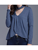 cheap -Women's Daily Casual Spring T-shirt,Solid V Neck Long Sleeve Cotton