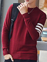 cheap -Men's Daily Casual Striped Round Neck Plus Size Sweater Pullover,Long Sleeve Spring Fall Rayon