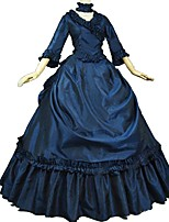 cheap -Rococo Victorian Costume Adults' Party Costume Masquerade Ink Blue Vintage Cosplay Taffeta 3/4 Length Sleeves Puff/Balloon Sweep / Brush
