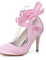 cheap -Women's Shoes Satin Spring Summer Basic Pump Wedding Shoes Stiletto Heel Round Toe Ribbon Tie for Wedding Party & Evening Pink White