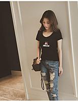 preiswerte -Damen Tierfell-Druck Freizeit Alltag T-shirt,Rundhalsausschnitt Kurze Ärmel Polyester