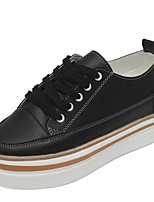 cheap -Women's Shoes PU Spring Fall Comfort Sneakers Low Heel for Casual White Black
