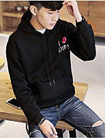 cheap -Men's Daily Hoodie Solid Round Neck Micro-elastic Silk Long Sleeve Winter
