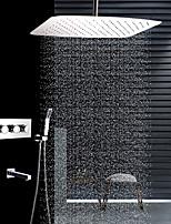 Недорогие -Современный Установка на потолок Дождевая лейка Ручная лейка входит в комплект Термостатический Керамический клапан Четыре Ручки четыре