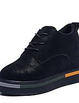 abordables -Mujer Zapatos PU Primavera Otoño Confort Botas Media plataforma Botines/Hasta el Tobillo para Casual Negro Marrón