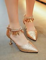 preiswerte -Damen Schuhe PU Frühling Herbst Komfort High Heels Stöckelabsatz für Normal Gold Schwarz Silber