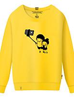abordables -Femme Col Arrondi Sweatshirt - Imprimé, Couleur Pleine