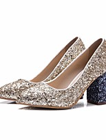 cheap -Women's Shoes Sparkling Glitter PU Spring Fall Comfort Heels Chunky Heel for Casual Gold Silver