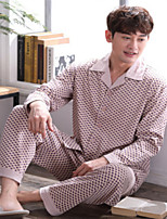 abordables -Costumes Pyjamas Homme,Points Polka Moyen Polyester Gris Marron clair