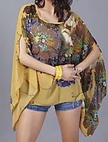 Недорогие -Для женщин Повседневные Лето Блуза Круглый вырез,На каждый день С принтом Полиэстер