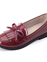 cheap -Girls' Shoes Patent Leather Spring Fall Comfort Loafers & Slip-Ons for Casual Wine Black