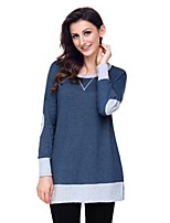 cheap -Women's Daily Casual Winter Fall T-shirt,Color Block Round Neck Long Sleeve Polyester