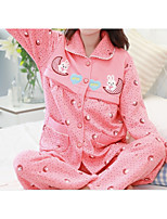 abordables -Costumes Pyjamas Femme,Motif Animal Epais Polyester Rose Claire Fuchsia