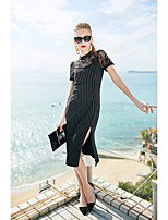 cheap -Women's Simple Butterfly Sleeve Sheath Dress - Striped, Lace Crew Neck