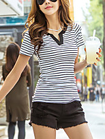 cheap -Women's Daily Casual T-shirt,Striped V Neck Short Sleeve Cotton Others