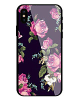 cheap -Case For Apple iPhone X iPhone 8 Pattern Back Cover Flower Hard Tempered Glass for iPhone X iPhone 8 Plus iPhone 8 iPhone 7 Plus iPhone 7