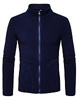 cheap -Men's Daily Solid Stand Regular, Long Sleeves Fall Polyester