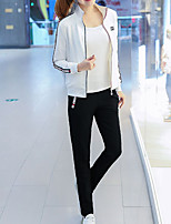 cheap -Women's Casual/Daily Simple Winter Set Pant Suits,Solid High Neck Long Sleeves Polyester