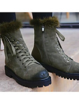 cheap -Women's Shoes Suede Winter Fall Comfort Combat Boots Boots Flat Heel Booties/Ankle Boots for Casual Black Army Green