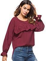 cheap -Women's Daily Going out Street chic Punk & Gothic All Seasons Blouse,Solid Round Neck Long Sleeve Cotton Acrylic Medium