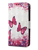 baratos -Capinha Para Huawei P9 lite mini Carteira Porta-Cartão Com Suporte Flip Estampada Magnética Corpo Inteiro Borboleta Rígida Couro Ecológico