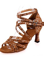 "cheap -Women's Latin Flocking Sandal Performance Pattern/Print Flared Heel Black/Gold Brown Black 2"" - 2 3/4"" Customizable"