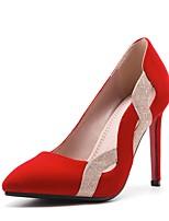 preiswerte -Damen Schuhe Nubukleder Frühling Herbst Komfort High Heels Stöckelabsatz Spitze Zehe für Hochzeit Party & Festivität Schwarz Rot