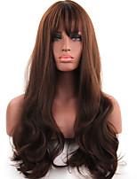Недорогие -Парики из искусственных волос Длиный Кудрявый Темно-рыжий С чёлкой Парик из натуральных волос Парики для вечеринки Парики к костюмам