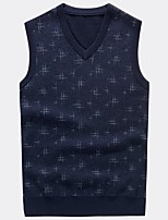 cheap -Men's Daily Casual Short Vest,Print V Neck Sleeveless Polyester Winter Fall Opaque Micro-elastic