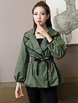 economico -Impermeabile Da donna Casual Semplice Primavera Autunno,A strisce Colletto Cotone Standard Maniche lunghe Oversized